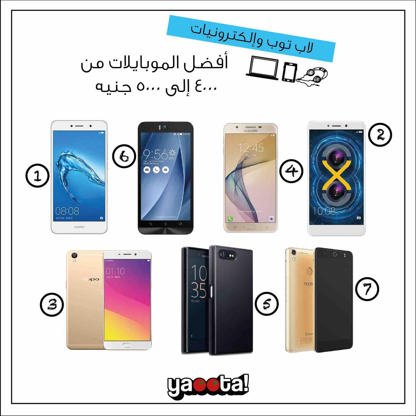 أفضل موبايلات بسعر من 4 إلى 5 الاف جنيه في مصر